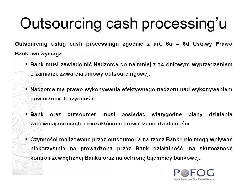 Outsourcing cash processingu Outsourcing usług cash processingu zgodnie z art. 6a – 6d Ustawy Prawo Bankowe wymaga: Bank musi zawiadomić Nadzorcę co n