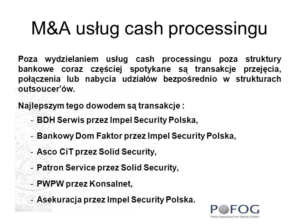 M&A usług cash processingu Poza wydzielaniem usług cash processingu poza struktury bankowe coraz częściej spotykane są transakcje przejęcia, połączeni