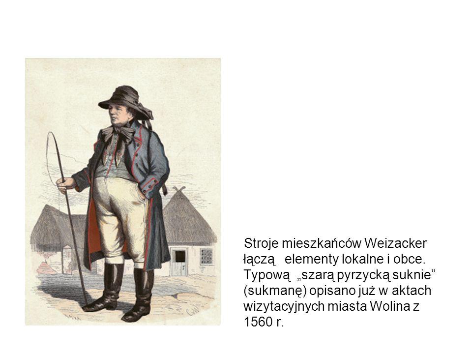 Ciężki, sztywny strój z dużą ilością dość krótkich spódnic oraz kosztowne nakrycia głowy wskazują na fryzyjskie pochodzenie ludności Weizacker.