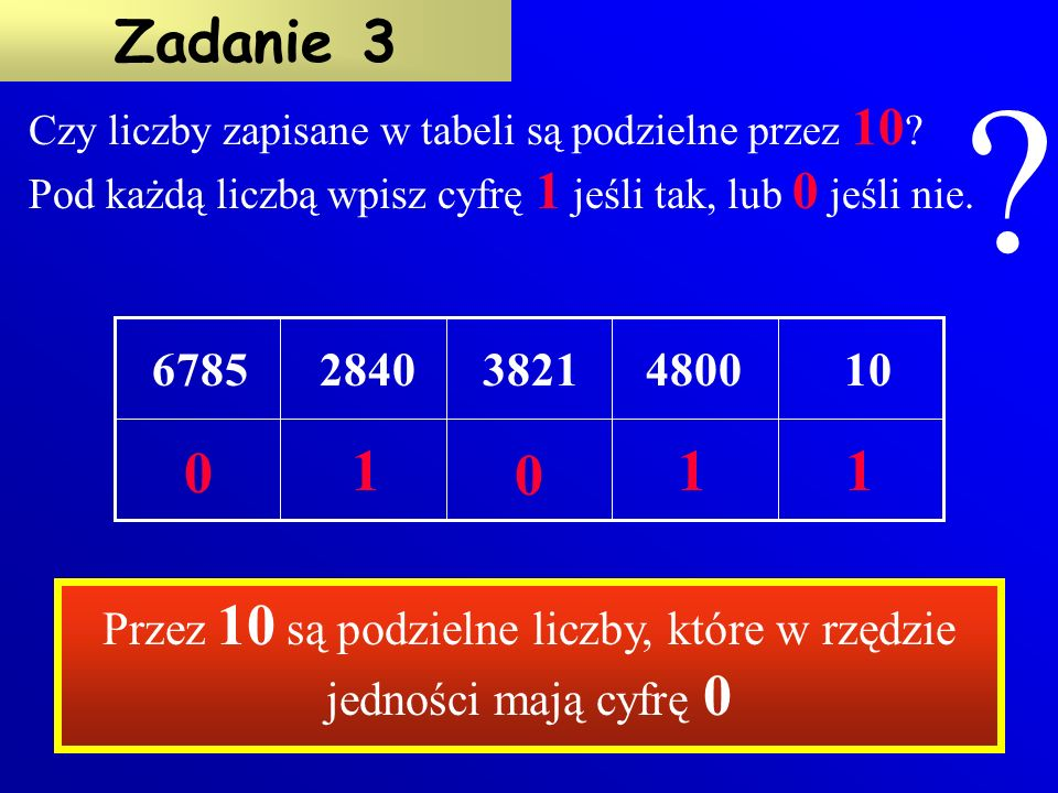 Przez 5 są podzielne liczby, które w rzędzie jedności mają cyfry 0 lub 5 + - + +- Czy liczby zapisane w tabeli są podzielne przez 5 .