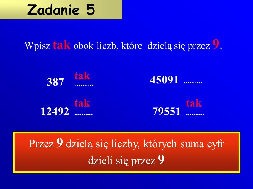 XX 672345597819514879 Czy liczby zapisane w tabeli są podzielne przez 3 .