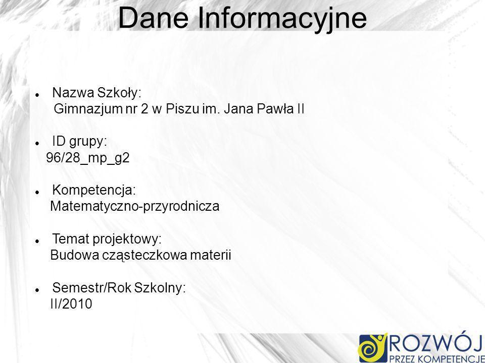 Dane Informacyjne Nazwa Szkoły: Gimnazjum nr 2 w Piszu im. Jana Pawła II ID grupy: 96/28_mp_g2 Kompetencja: Matematyczno-przyrodnicza Temat projektowy