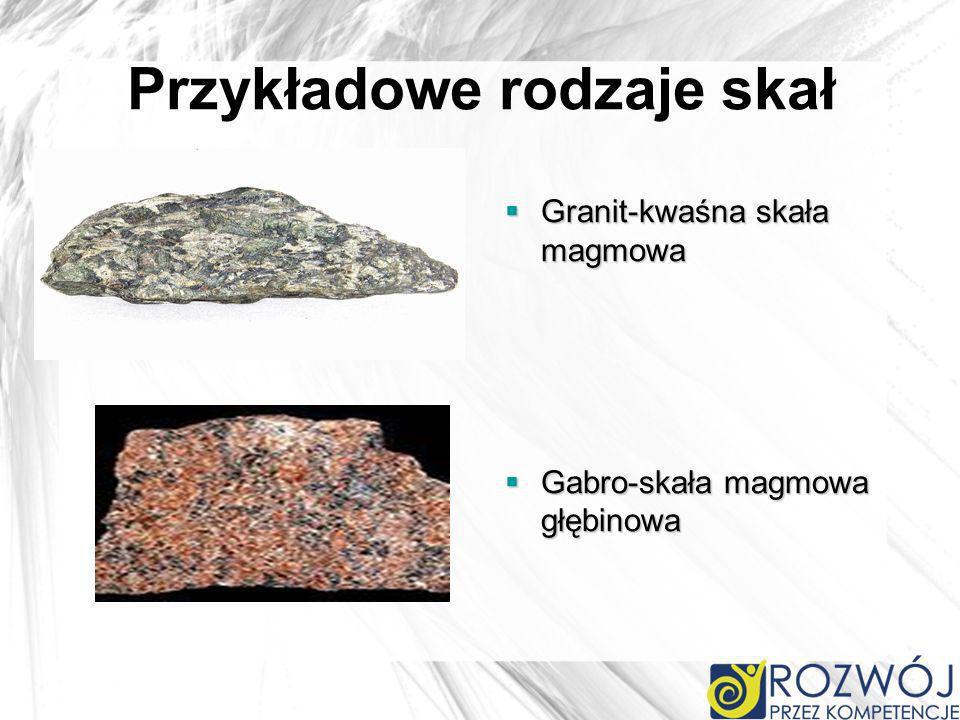 Przykładowe rodzaje skał Granit-kwaśna skała magmowa Granit-kwaśna skała magmowa Gabro-skała magmowa głębinowa Gabro-skała magmowa głębinowa