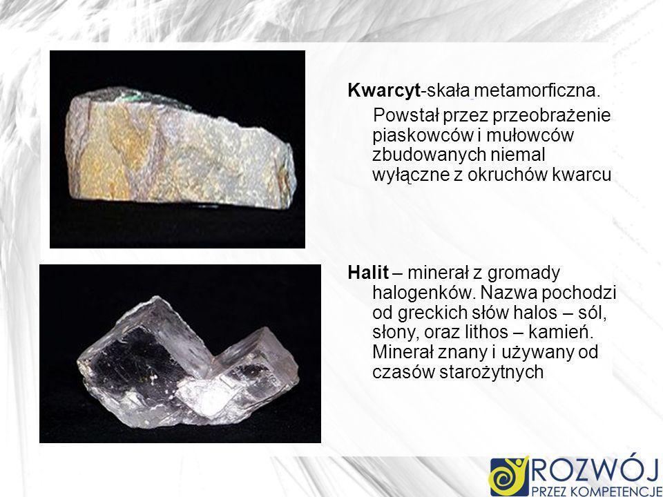 Kwarcyt-skała metamorficzna. Powstał przez przeobrażenie piaskowców i mułowców zbudowanych niemal wyłączne z okruchów kwarcu Halit – minerał z gromady