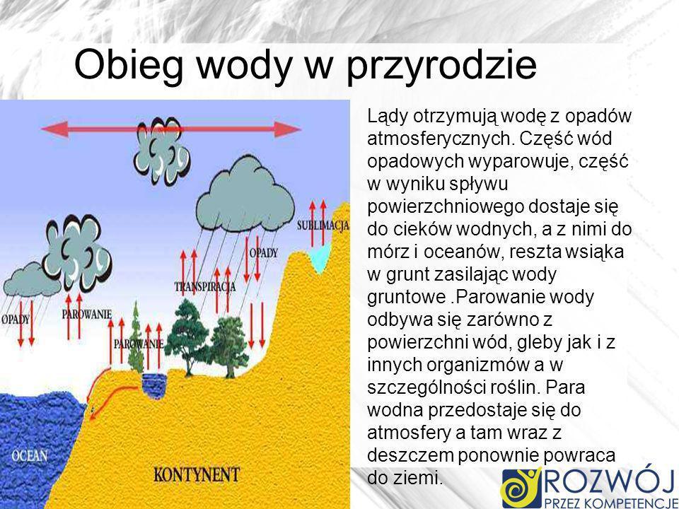 Lądy otrzymują wodę z opadów atmosferycznych. Część wód opadowych wyparowuje, część w wyniku spływu powierzchniowego dostaje się do cieków wodnych, a
