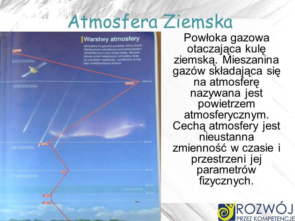 Atmosfera Ziemska Powłoka gazowa otaczająca kulę ziemską. Mieszanina gazów składająca się na atmosferę nazywana jest powietrzem atmosferycznym. Cechą