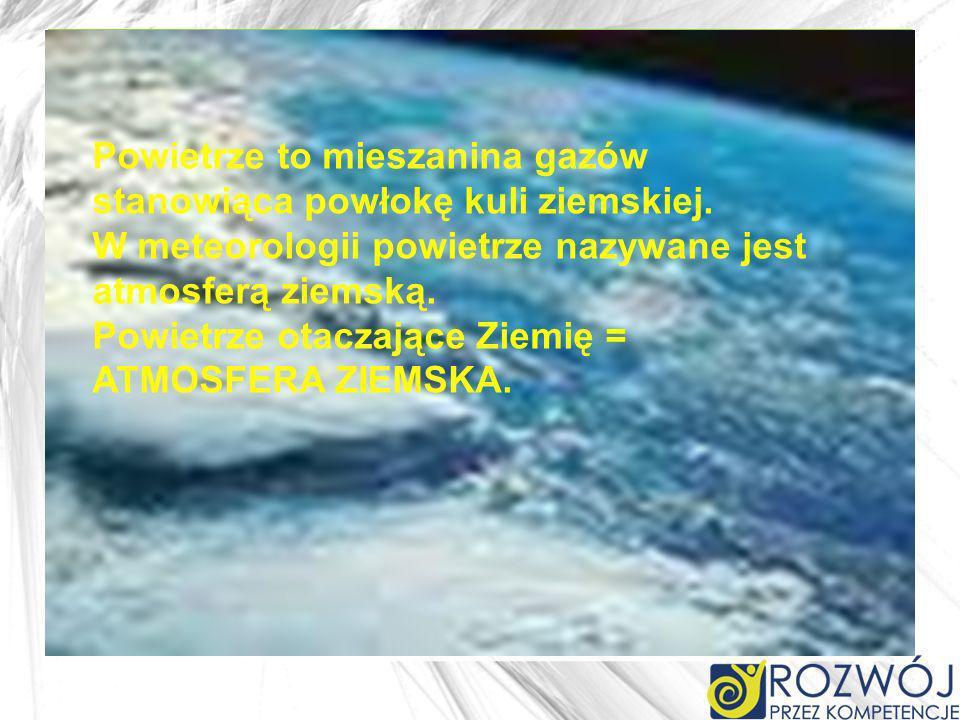 Powietrze otaczające Ziemię = ATMOSFERA ZIEMSKA. w Tablicy Mendelejewa w Tablicy Mendelejewa Powietrze to mieszanina gazów stanowiąca powłokę kuli zie