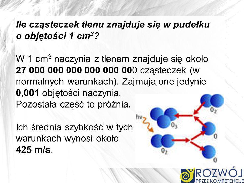 Ile cząsteczek tlenu znajduje się w pudełku o objętości 1 cm 3 ? W 1 cm 3 naczynia z tlenem znajduje się około 27 000 000 000 000 000 000 cząsteczek (