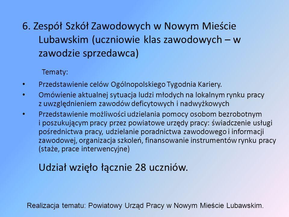 6. Zespół Szkół Zawodowych w Nowym Mieście Lubawskim (uczniowie klas zawodowych – w zawodzie sprzedawca) Tematy: Przedstawienie celów Ogólnopolskiego