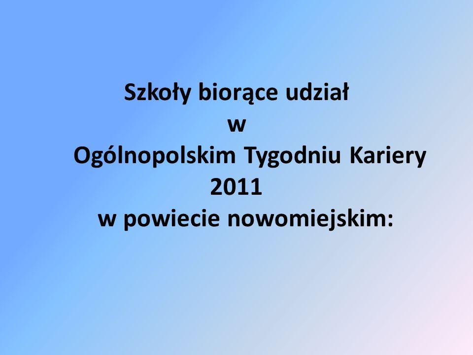Szkoły biorące udział w Ogólnopolskim Tygodniu Kariery 2011 w powiecie nowomiejskim: