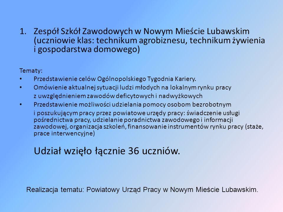 1.Zespół Szkół Zawodowych w Nowym Mieście Lubawskim (uczniowie klas: technikum agrobiznesu, technikum żywienia i gospodarstwa domowego) Tematy: Przedstawienie celów Ogólnopolskiego Tygodnia Kariery.