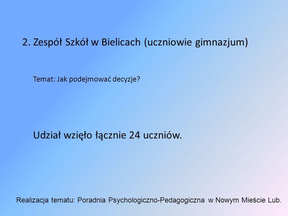 2. Zespół Szkół w Bielicach (uczniowie gimnazjum) Temat: Jak podejmować decyzje.