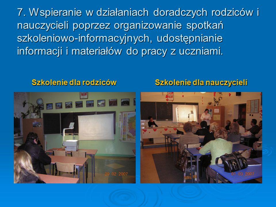 7. Wspieranie w działaniach doradczych rodziców i nauczycieli poprzez organizowanie spotkań szkoleniowo-informacyjnych, udostępnianie informacji i mat