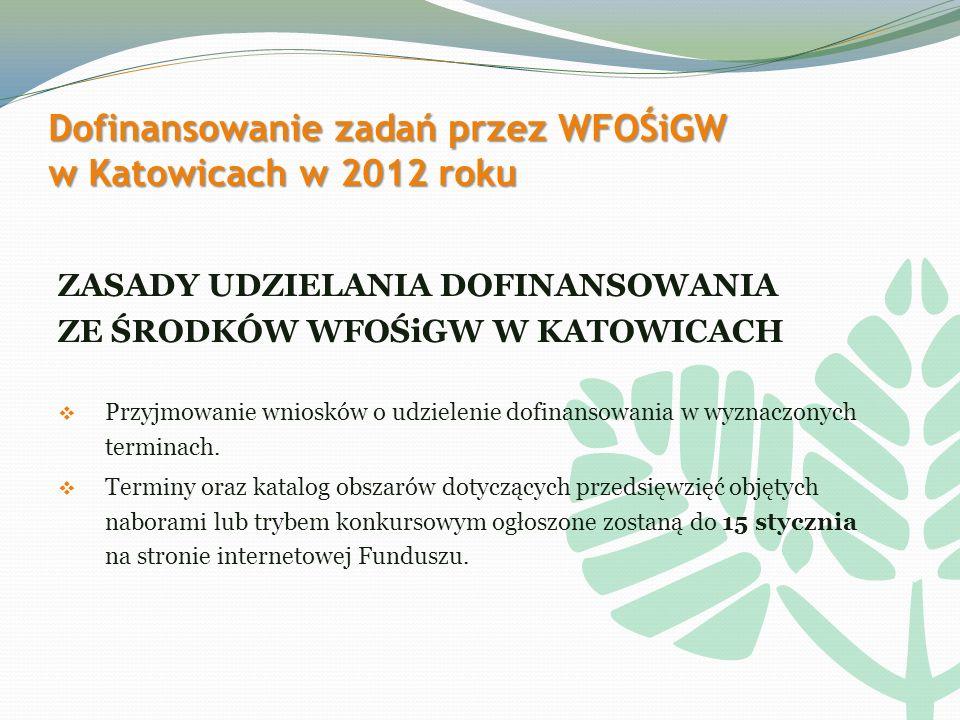 Dofinansowanie zadań przez WFOŚiGW w Katowicach w 2012 roku ZASADY UDZIELANIA DOFINANSOWANIA ZE ŚRODKÓW WFOŚiGW W KATOWICACH Przyjmowanie wniosków o udzielenie dofinansowania w wyznaczonych terminach.