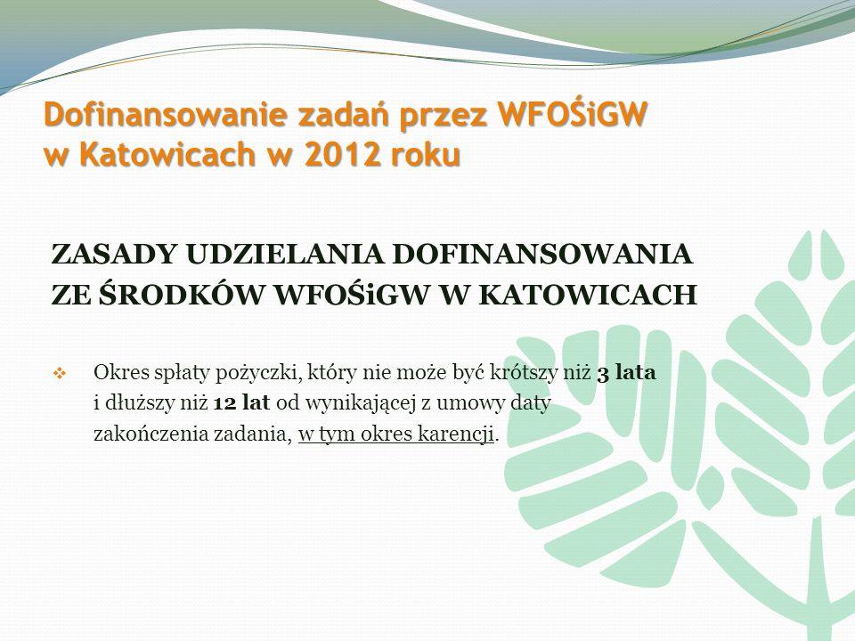Dofinansowanie zadań przez WFOŚiGW w Katowicach w 2012 roku ZASADY UDZIELANIA DOFINANSOWANIA ZE ŚRODKÓW WFOŚiGW W KATOWICACH Okres spłaty pożyczki, który nie może być krótszy niż 3 lata i dłuższy niż 12 lat od wynikającej z umowy daty zakończenia zadania, w tym okres karencji.