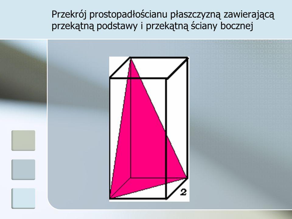 Przekrój prostopadłościanu płaszczyzną zawierającą przekątną podstawy i przekątną ściany bocznej