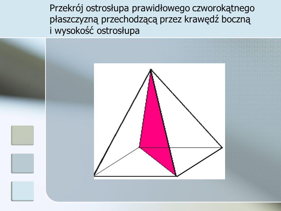 Przekrój ostrosłupa prawidłowego czworokątnego płaszczyzną przechodzącą przez krawędź boczną i wysokość ostrosłupa