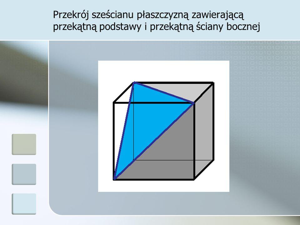 Przekrój sześcianu płaszczyzną zawierającą przekątną podstawy i przekątną ściany bocznej