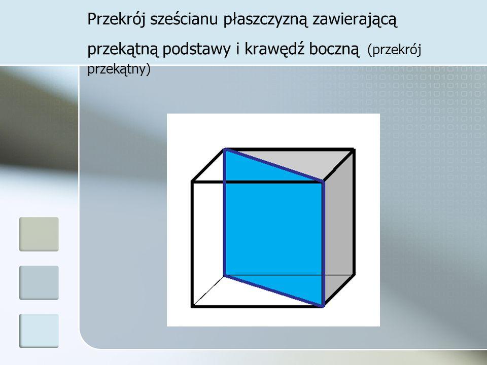 Przekrój sześcianu płaszczyzną zawierającą przekątną podstawy i krawędź boczną (przekrój przekątny)