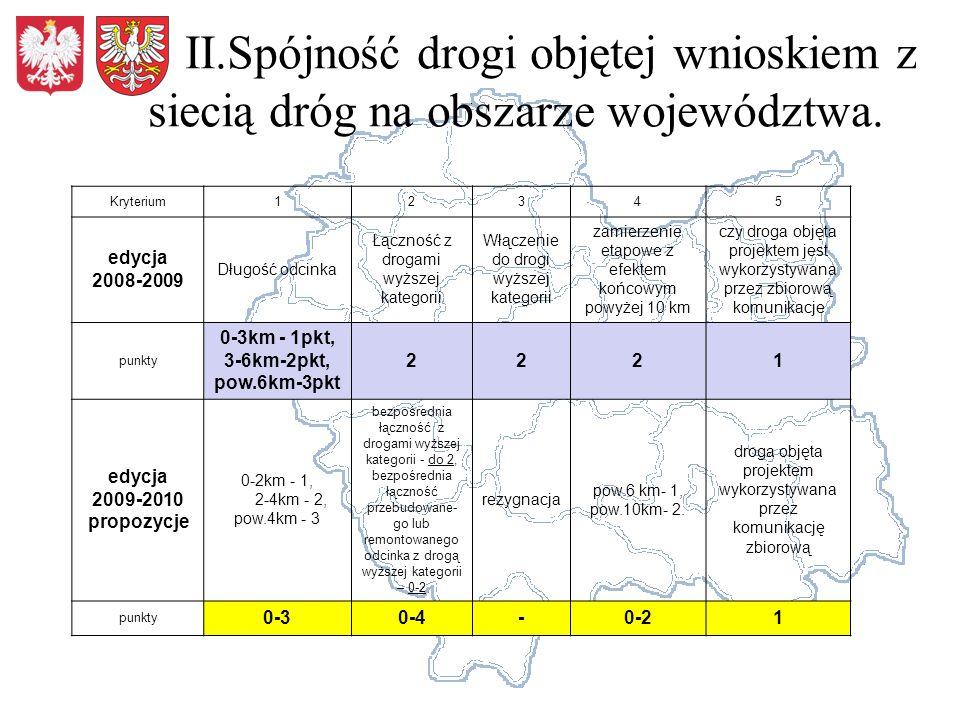 II.Spójność drogi objętej wnioskiem z siecią dróg na obszarze województwa.