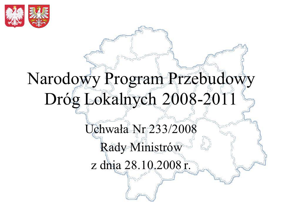 Narodowy Program Przebudowy Dróg Lokalnych 2008-2011 Uchwała Nr 233/2008 Rady Ministrów z dnia 28.10.2008 r.