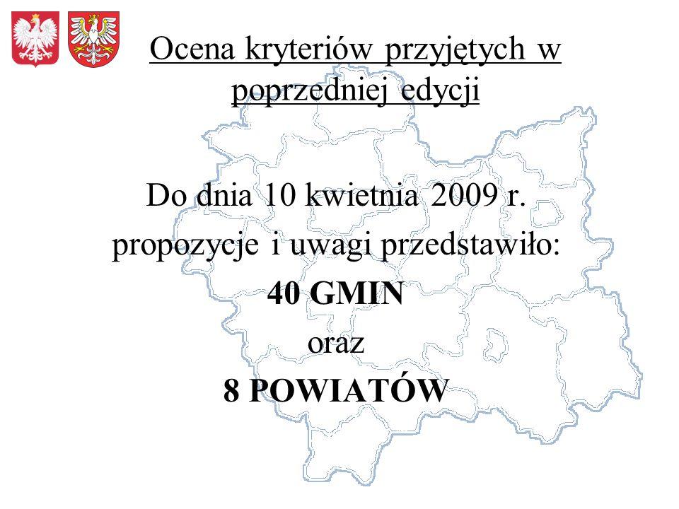 Ocena kryteriów przyjętych w poprzedniej edycji Do dnia 10 kwietnia 2009 r. propozycje i uwagi przedstawiło: 40 GMIN oraz 8 POWIATÓW