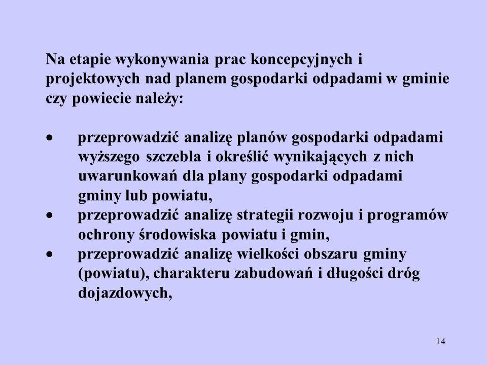 14 Na etapie wykonywania prac koncepcyjnych i projektowych nad planem gospodarki odpadami w gminie czy powiecie należy: przeprowadzić analizę planów g