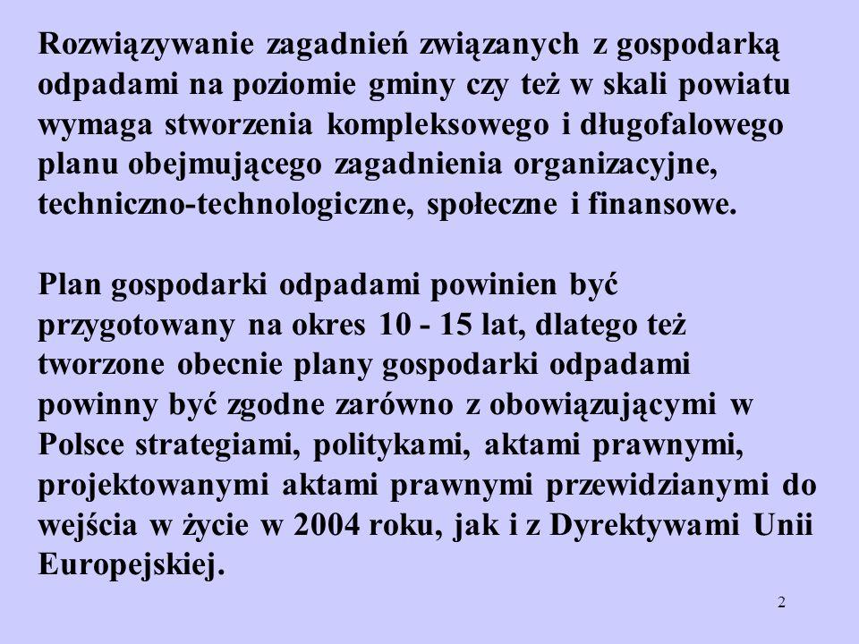 2 Rozwiązywanie zagadnień związanych z gospodarką odpadami na poziomie gminy czy też w skali powiatu wymaga stworzenia kompleksowego i długofalowego p