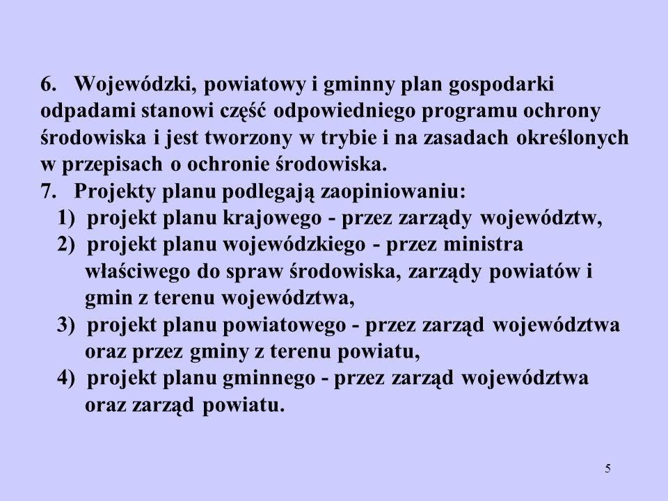 5 6. Wojewódzki, powiatowy i gminny plan gospodarki odpadami stanowi część odpowiedniego programu ochrony środowiska i jest tworzony w trybie i na zas