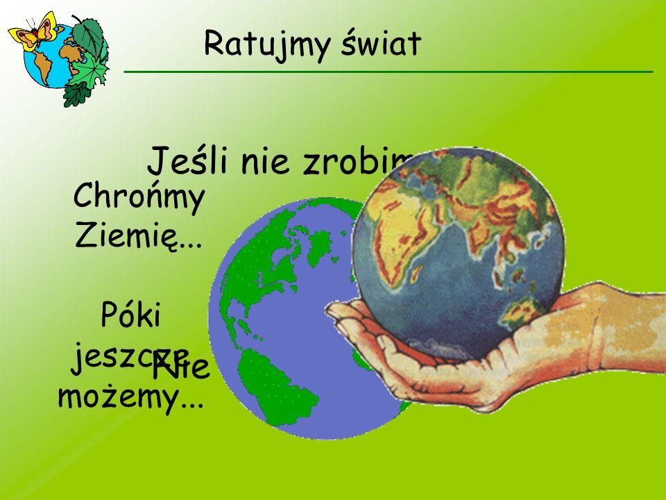 Ratujmy świat Jeśli nie zrobimy nic... Nie zostanie już nic... Chrońmy Ziemię... Póki jeszcze możemy...