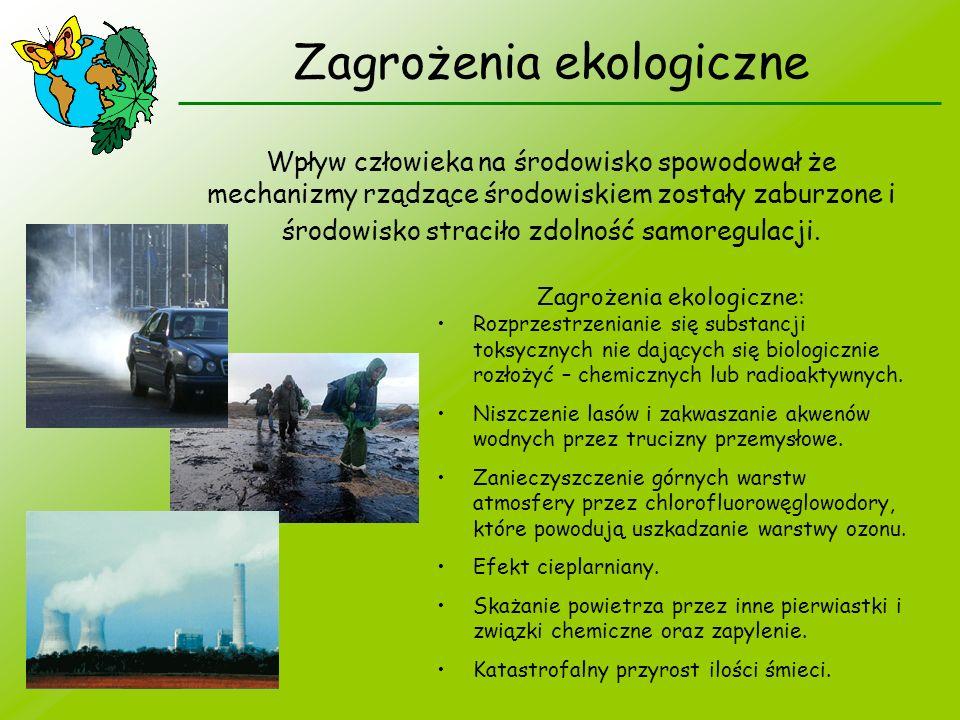 Zagrożenia ekologiczne Wpływ człowieka na środowisko spowodował że mechanizmy rządzące środowiskiem zostały zaburzone i środowisko straciło zdolność s