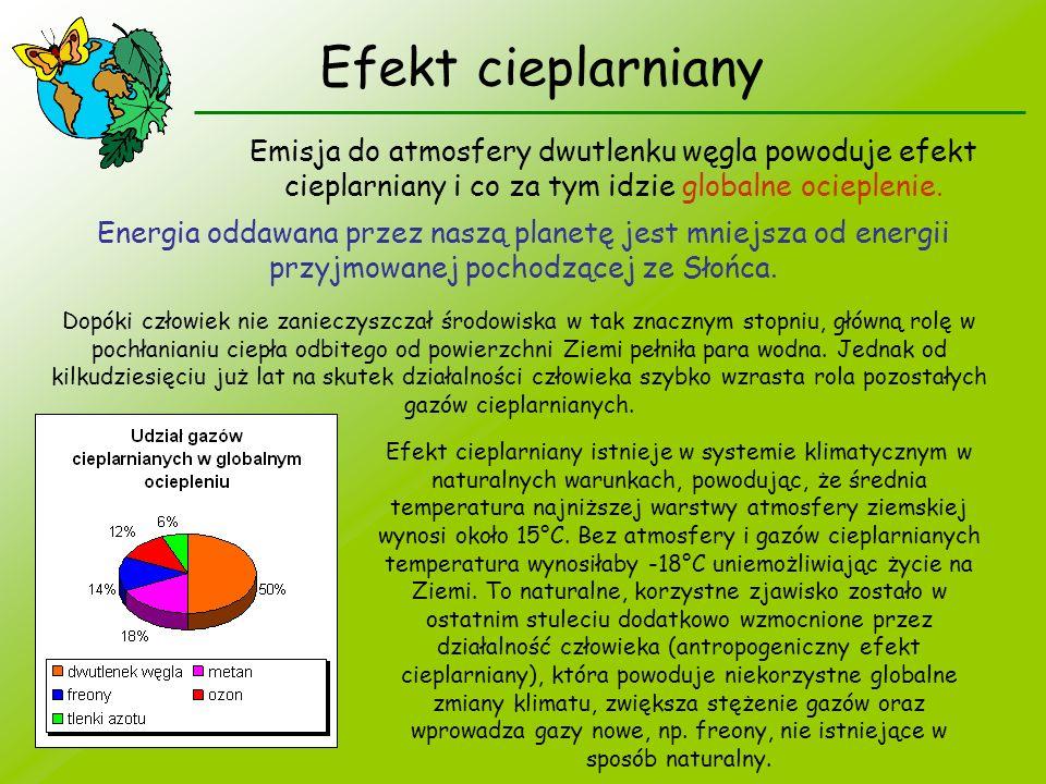 Efekt cieplarniany Emisja do atmosfery dwutlenku węgla powoduje efekt cieplarniany i co za tym idzie globalne ocieplenie. Energia oddawana przez naszą