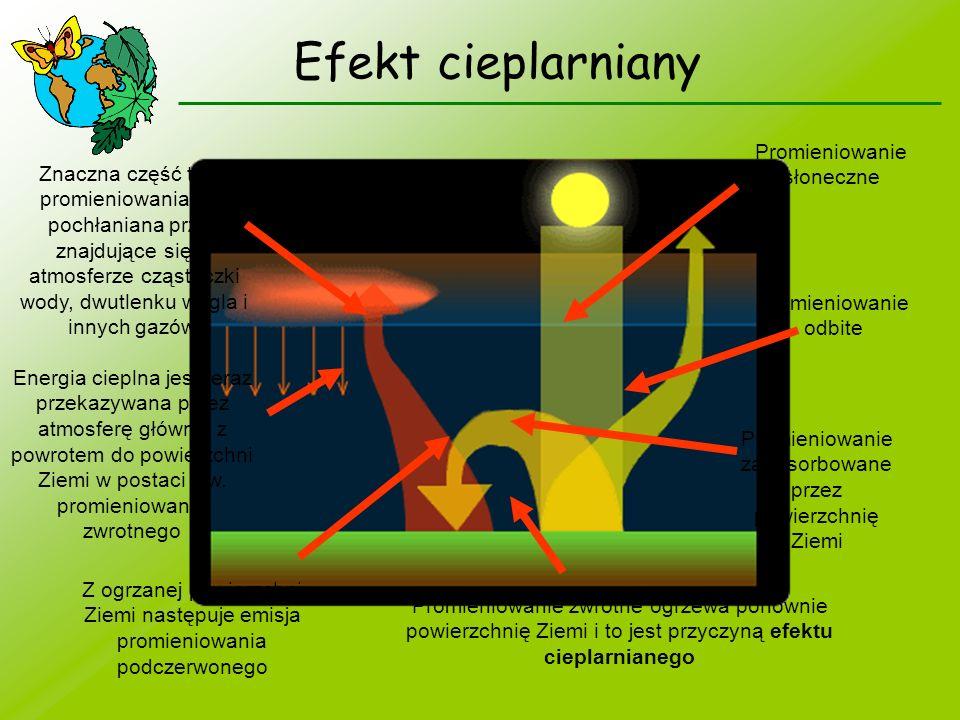 Promieniowanie słoneczne Promieniowanie odbite Promieniowanie zaabsorbowane przez powierzchnię Ziemi Z ogrzanej powierzchni Ziemi następuje emisja pro