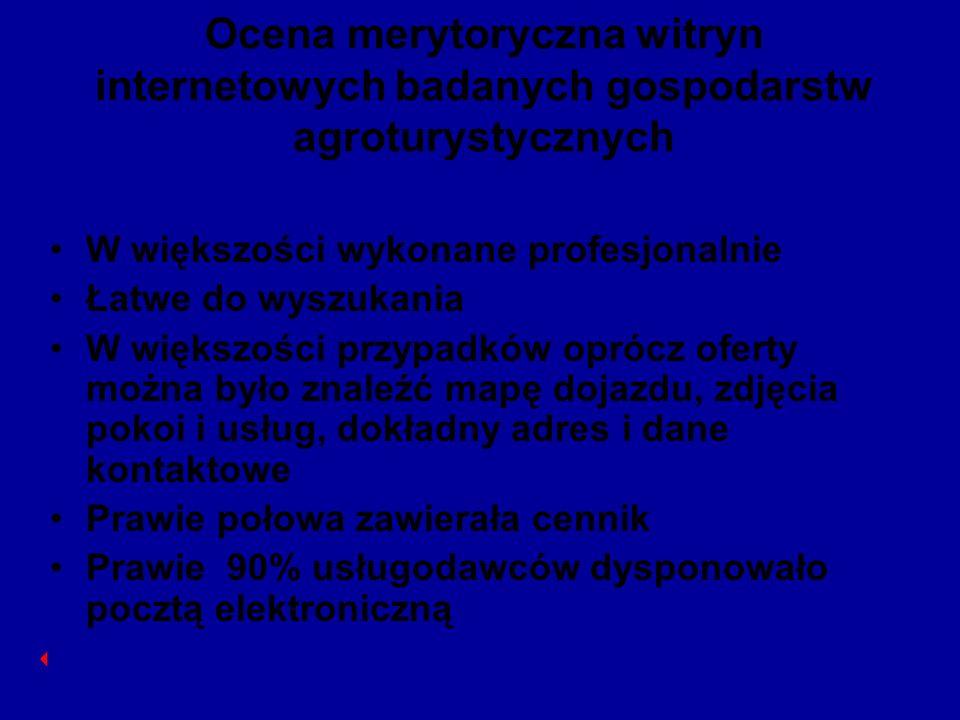 Ocena merytoryczna witryn internetowych badanych gospodarstw agroturystycznych W większości wykonane profesjonalnie Łatwe do wyszukania W większości p