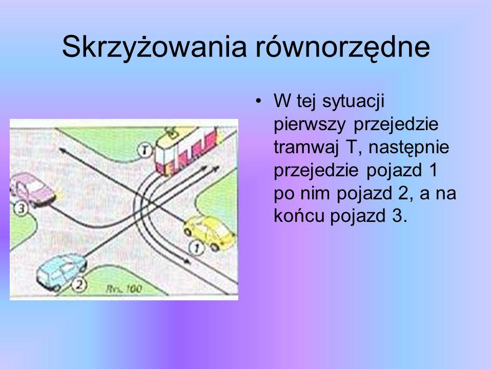 Skrzyżowania równorzędne W tej sytuacji pierwszy przejedzie tramwaj T, następnie przejedzie pojazd 1 po nim pojazd 2, a na końcu pojazd 3.