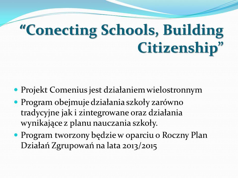 Conecting Schools, Building CitizenshipConecting Schools, Building Citizenship Projekt Comenius jest działaniem wielostronnym Program obejmuje działan