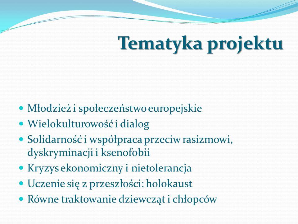 Tematyka projektu Młodzież i społeczeństwo europejskie Wielokulturowość i dialog Solidarność i współpraca przeciw rasizmowi, dyskryminacji i ksenofobii Kryzys ekonomiczny i nietolerancja Uczenie się z przeszłości: holokaust Równe traktowanie dziewcząt i chłopców