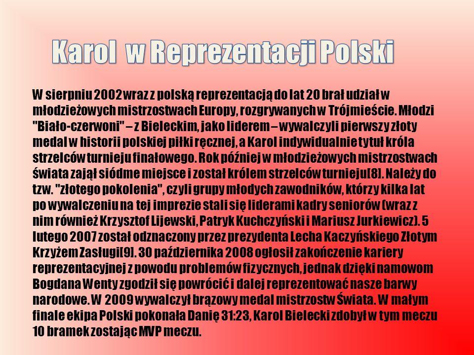 W sierpniu 2002 wraz z polską reprezentacją do lat 20 brał udział w młodzieżowych mistrzostwach Europy, rozgrywanych w Trójmieście. Młodzi