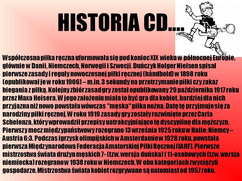 HISTORIA CD…. Współczesna piłka ręczna uformowała się pod koniec XIX wieku w północnej Europie, głównie w Danii, Niemczech, Norwegii i Szwecji. Duńczy