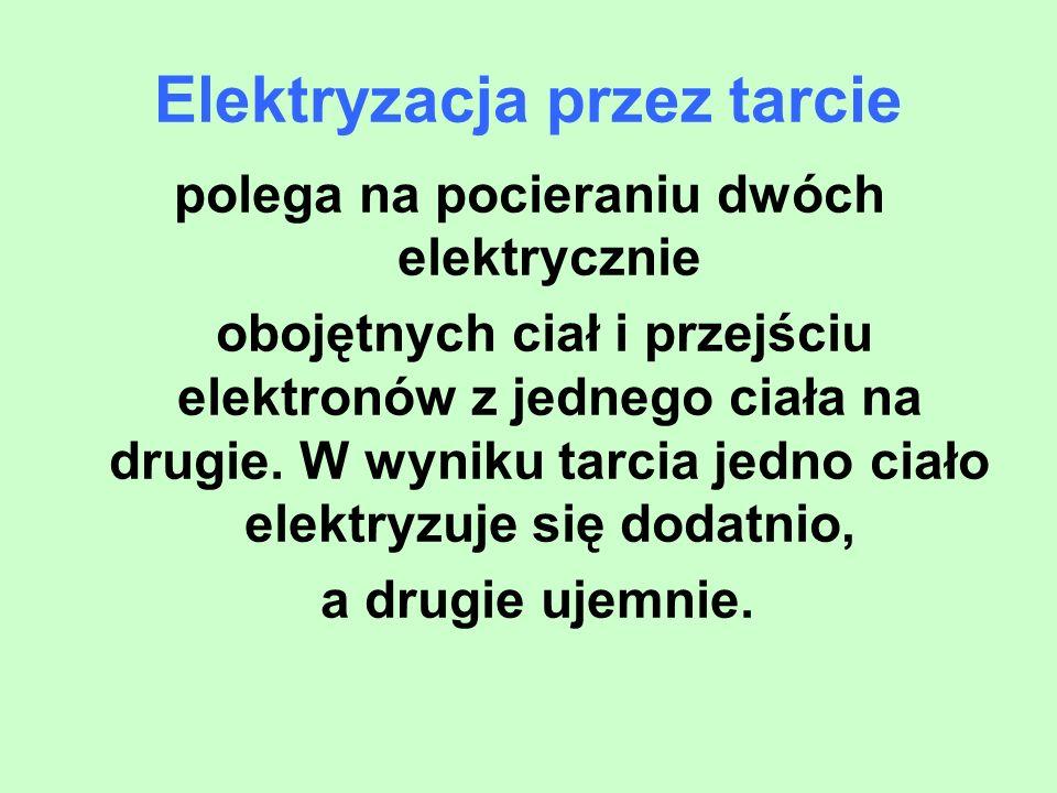 Elektryzacja przez tarcie polega na pocieraniu dwóch elektrycznie obojętnych ciał i przejściu elektronów z jednego ciała na drugie. W wyniku tarcia je