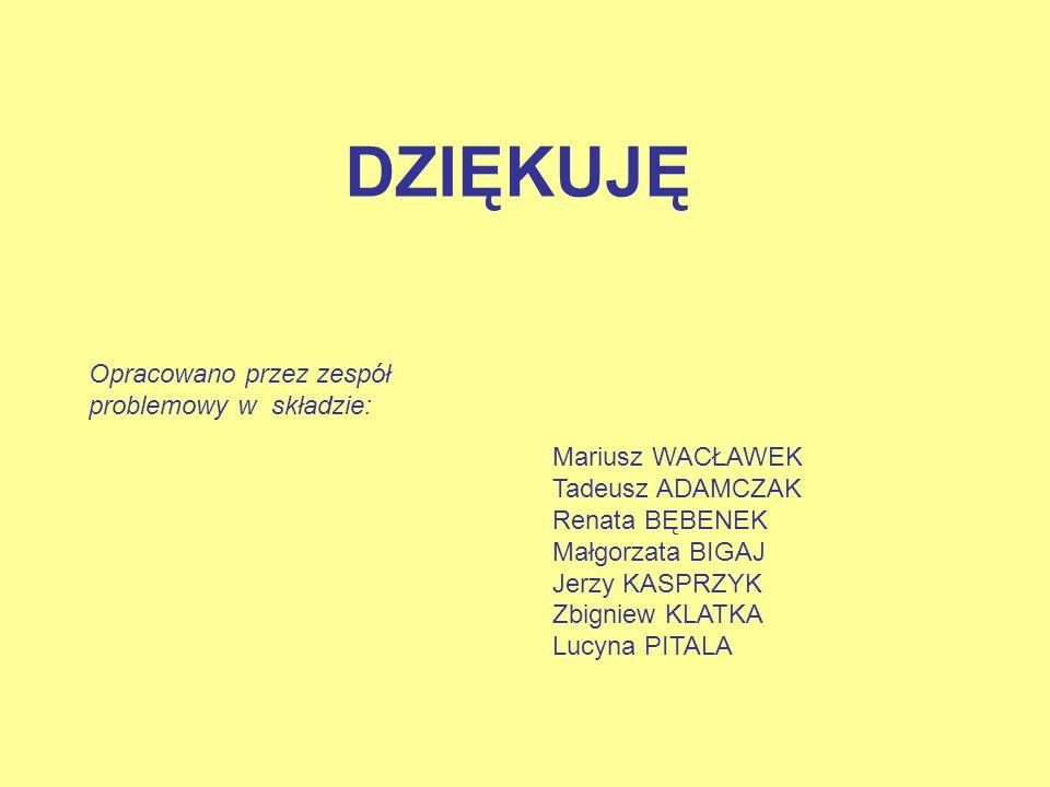 DZIĘKUJĘ Opracowano przez zespół problemowy w składzie: Mariusz WACŁAWEK Tadeusz ADAMCZAK Renata BĘBENEK Małgorzata BIGAJ Jerzy KASPRZYK Zbigniew KLAT