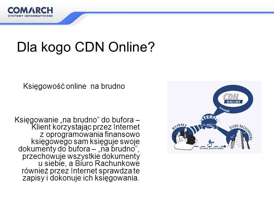 Dla kogo CDN Online? Księgowanie na brudno do bufora – Klient korzystając przez Internet z oprogramowania finansowo księgowego sam księguje swoje doku