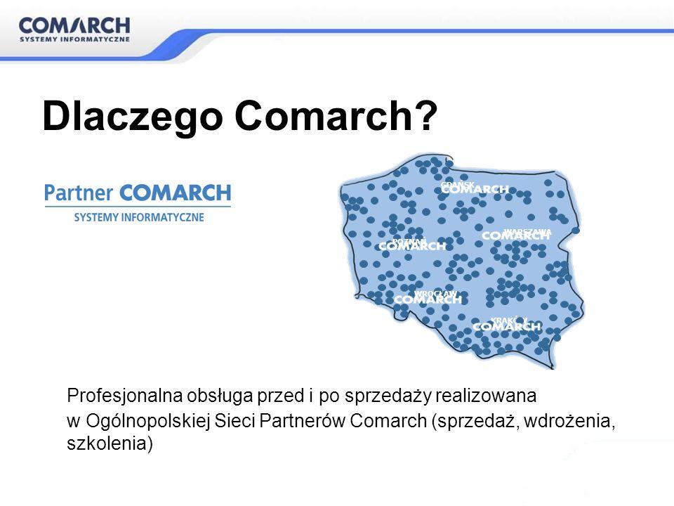 Profesjonalna obsługa przed i po sprzedaży realizowana w Ogólnopolskiej Sieci Partnerów Comarch (sprzedaż, wdrożenia, szkolenia) WARSZAWA KRAKÓW WROCŁ