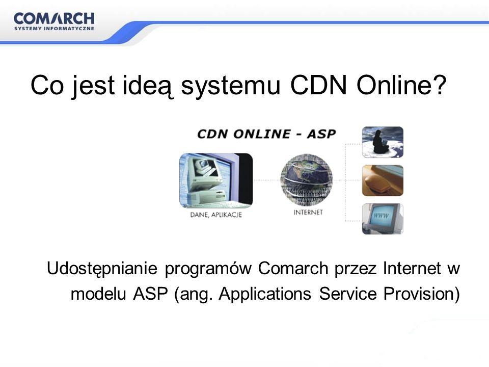 Co jest ideą systemu CDN Online? Udostępnianie programów Comarch przez Internet w modelu ASP (ang. Applications Service Provision)