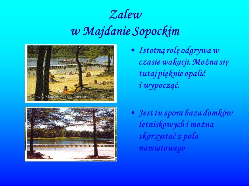 Zalew w Majdanie Sopockim Istotną rolę odgrywa w czasie wakacji. Można się tutaj pięknie opalić i wypocząć. Jest tu spora baza domków letniskowych i m