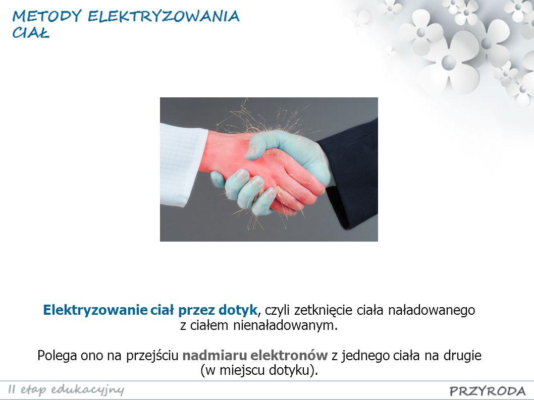Elektryzowanie ciał przez dotyk, czyli zetknięcie ciała naładowanego z ciałem nienaładowanym. Polega ono na przejściu nadmiaru elektronów z jednego ci