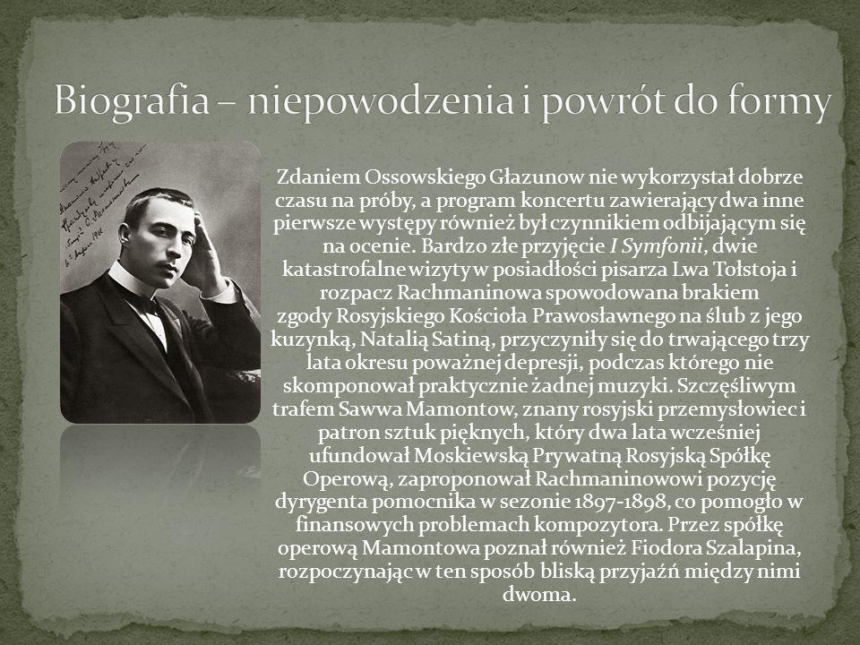 Zdaniem Ossowskiego Głazunow nie wykorzystał dobrze czasu na próby, a program koncertu zawierający dwa inne pierwsze występy również był czynnikiem od