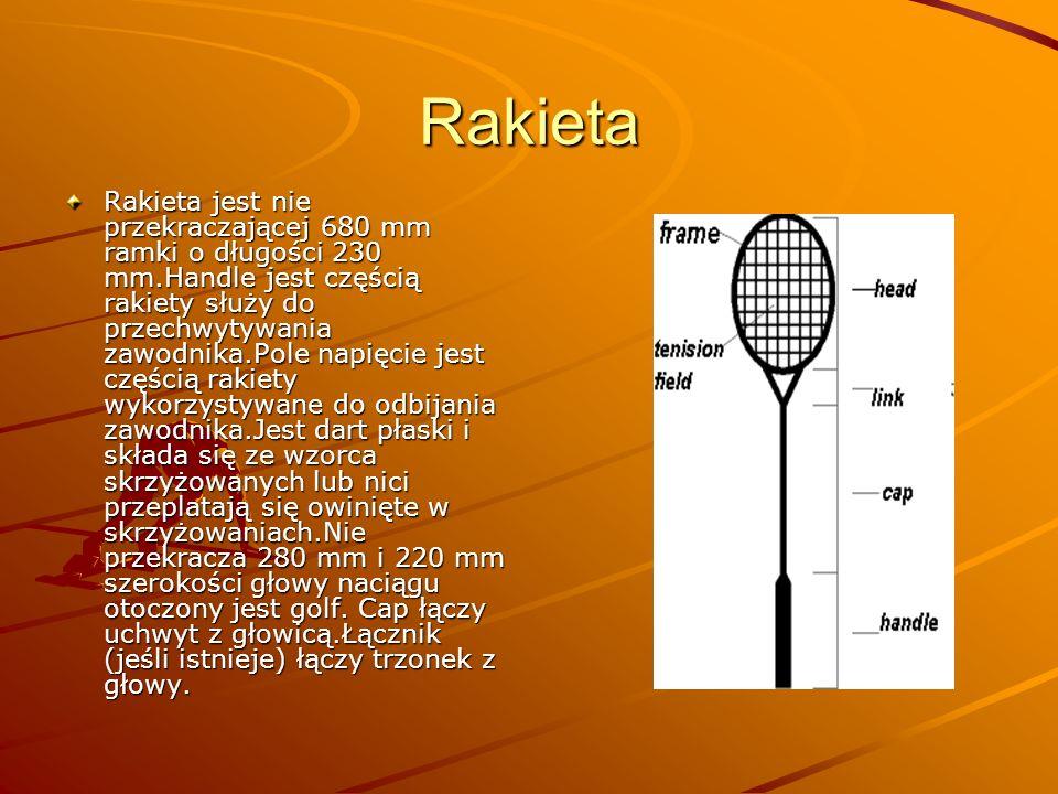 Rakieta Rakieta jest nie przekraczającej 680 mm ramki o długości 230 mm.Handle jest częścią rakiety służy do przechwytywania zawodnika.Pole napięcie j