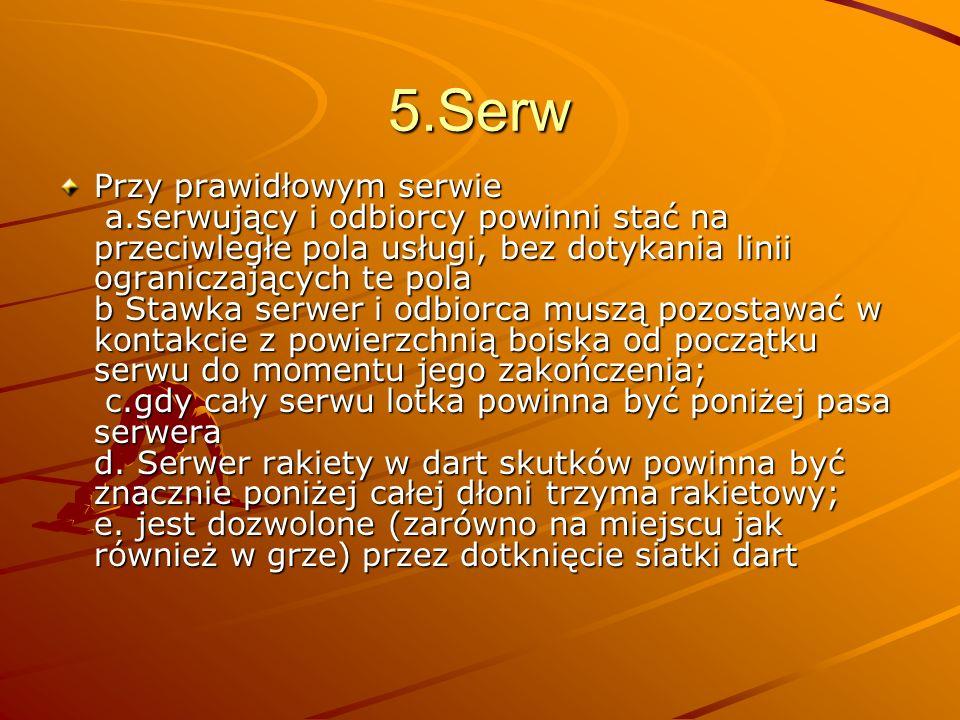 6.Pojedyńcza gra Pole serwu: a.