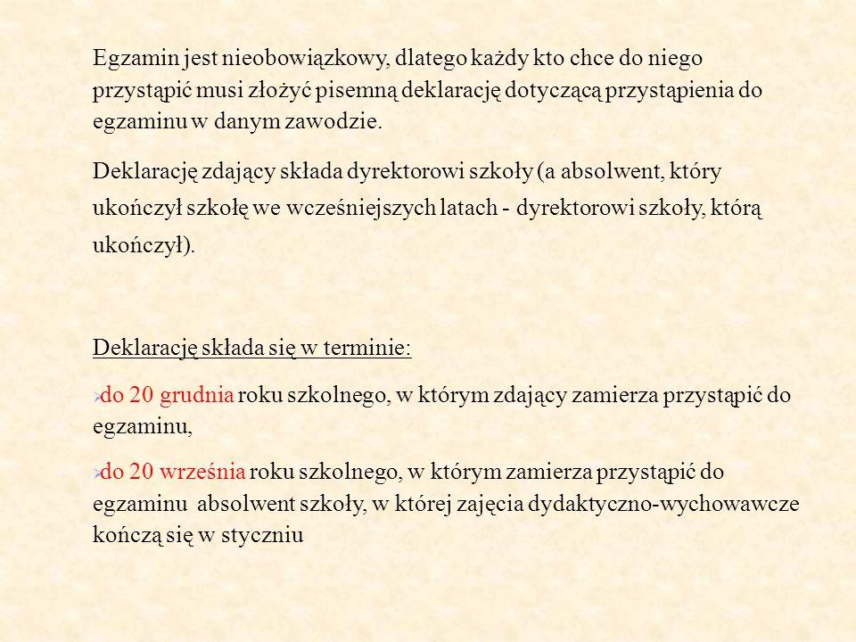 Egzamin jest nieobowiązkowy, dlatego każdy kto chce do niego przystąpić musi złożyć pisemną deklarację dotyczącą przystąpienia do egzaminu w danym zaw